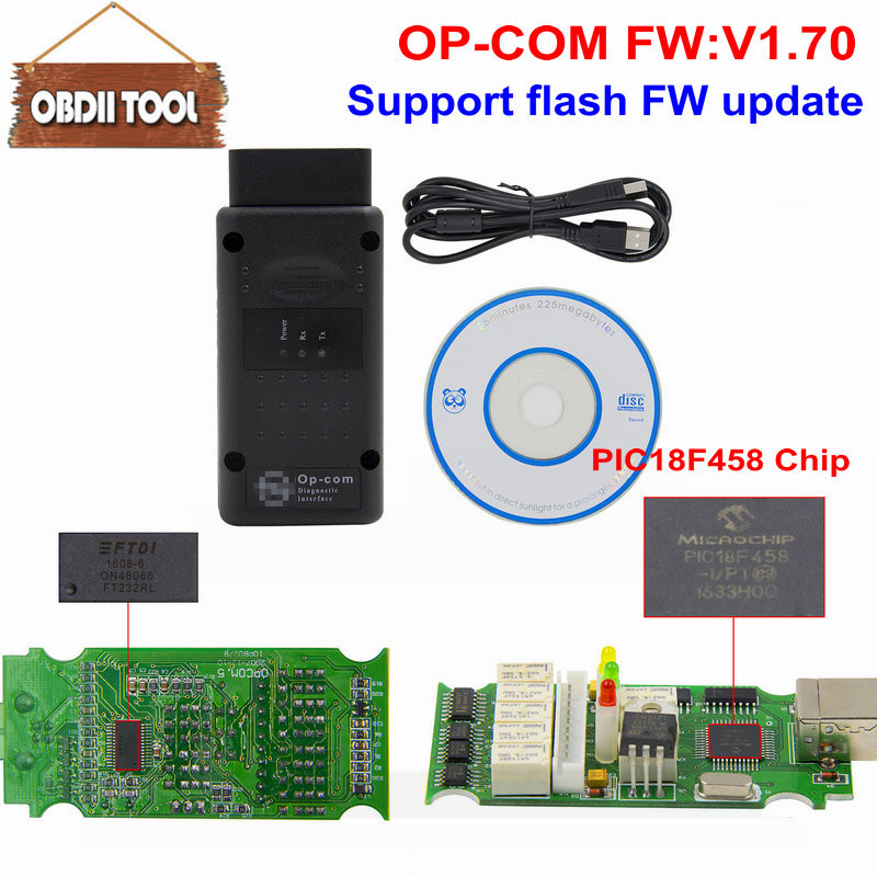 2017 A+++ Quality OPCOM V1.70 firmware V5 OP-COM For Opel Diagnostic-tool OP COM with real pic18f458 can be flash update