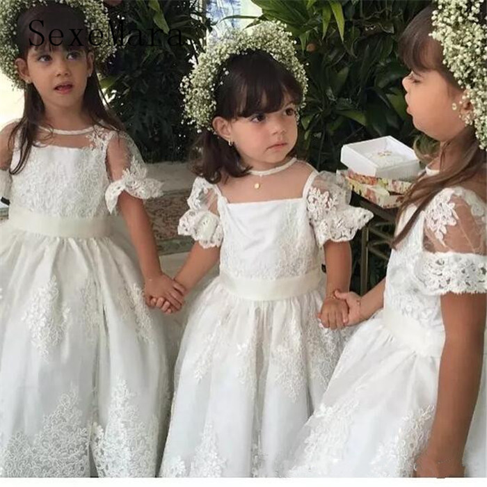 White Ivory Flower Girl Dresses for wedding O Neck Lace Long First Communion Dresses Baby Girls Birthday Gown vestido daminha цены онлайн
