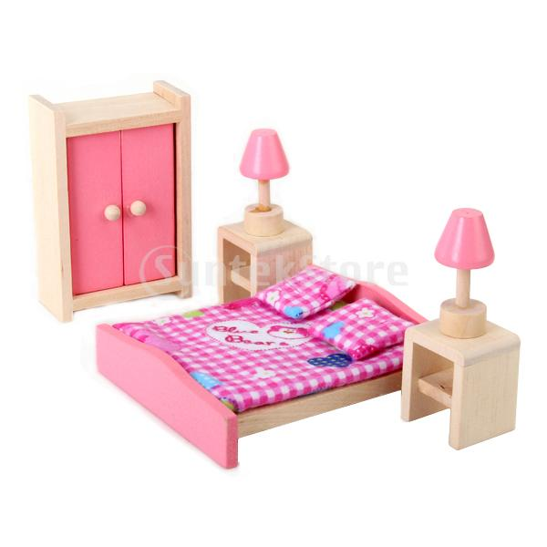 free shipping wooden dollhouse miniature furniture bedroom set in