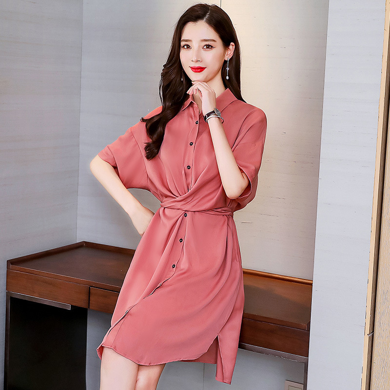 Solid color loose dresses 2019 summer mid-rise fashion comfortable simple shirt Dress short sleeve turn-down collar sexy dresses