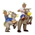 Purim cowboy inflável traje de dinossauro montar em cavalo fantasia party dress cosplay halloween fantasias para crianças adulto