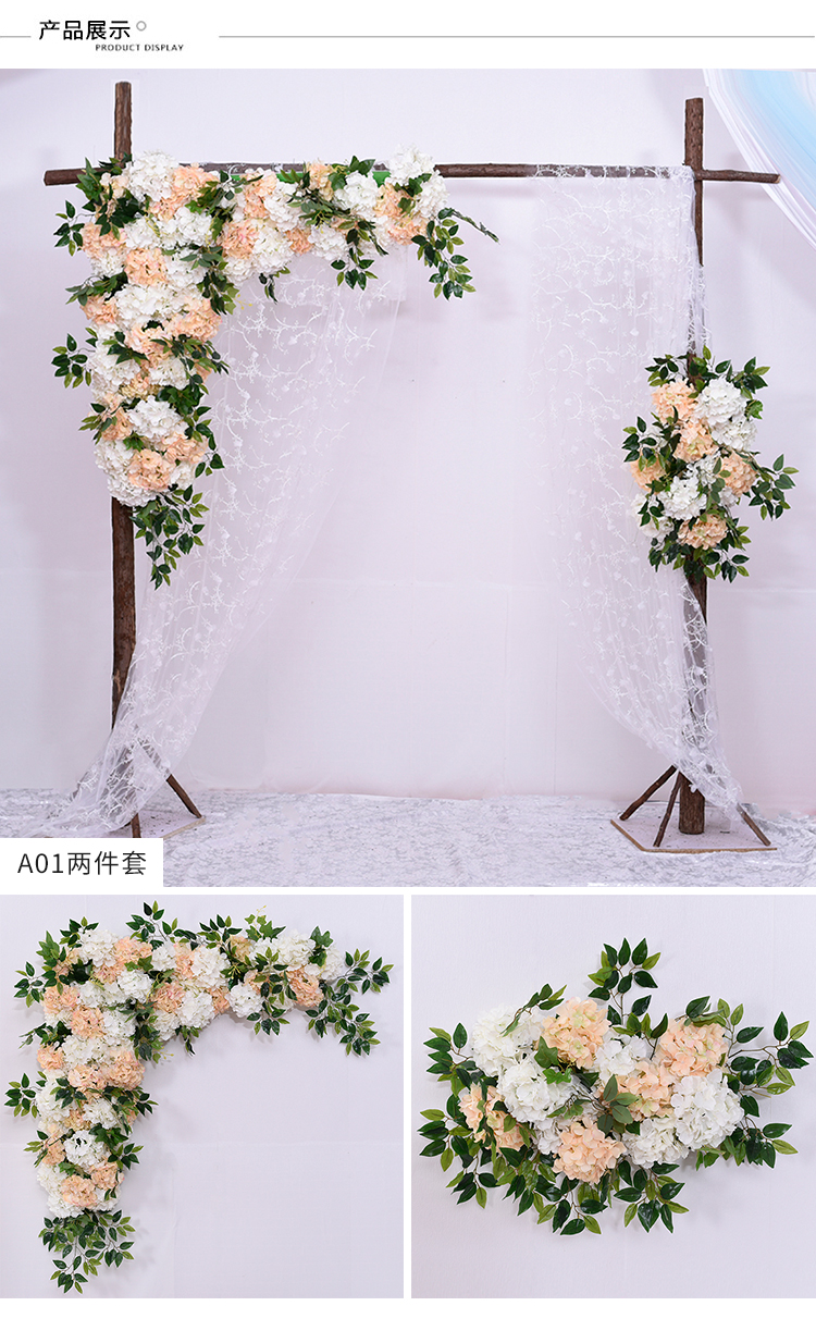 2018 Hessische Rustieke Bruiloft podium achtergronden muur decoratie kunstbloem rij Boog zijden rose pioen plant bloemen muur
