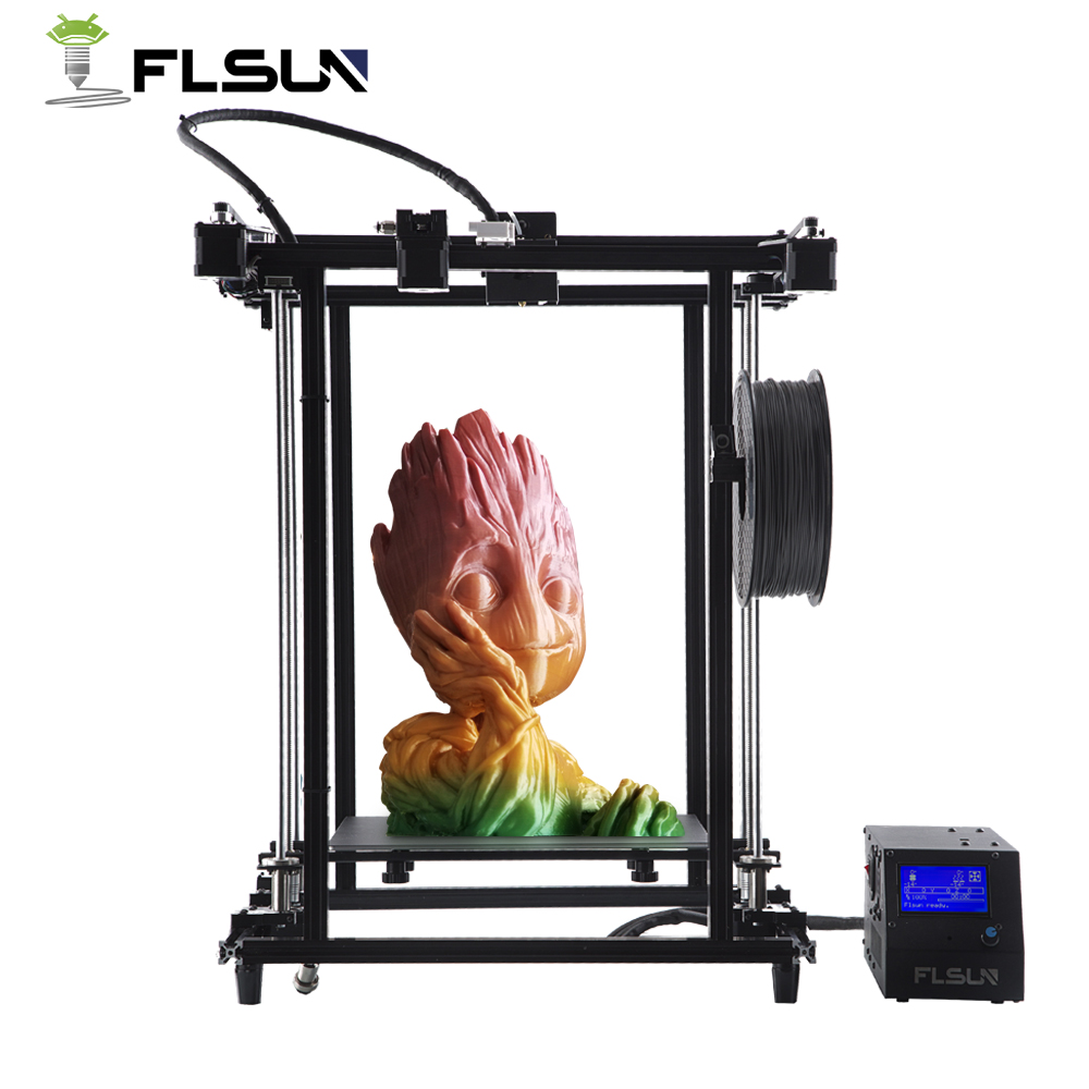 Flsun 3D Imprimante Grand Impression Taille 320*320*460mm Chauffée Lit Corexy Structure Double Z Lead Vis v-slot Pré-assemblée 3D-Printer
