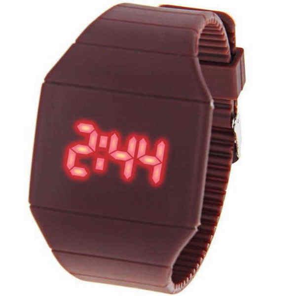 Reloj de pulsera de goma para hombre de silicona con pantalla táctil Led roja de moda