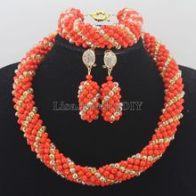Hot Nigerian Wedding African Beads Jewelry Set Crystal Beads Necklace Jewelry Set Free Shipping HD6439