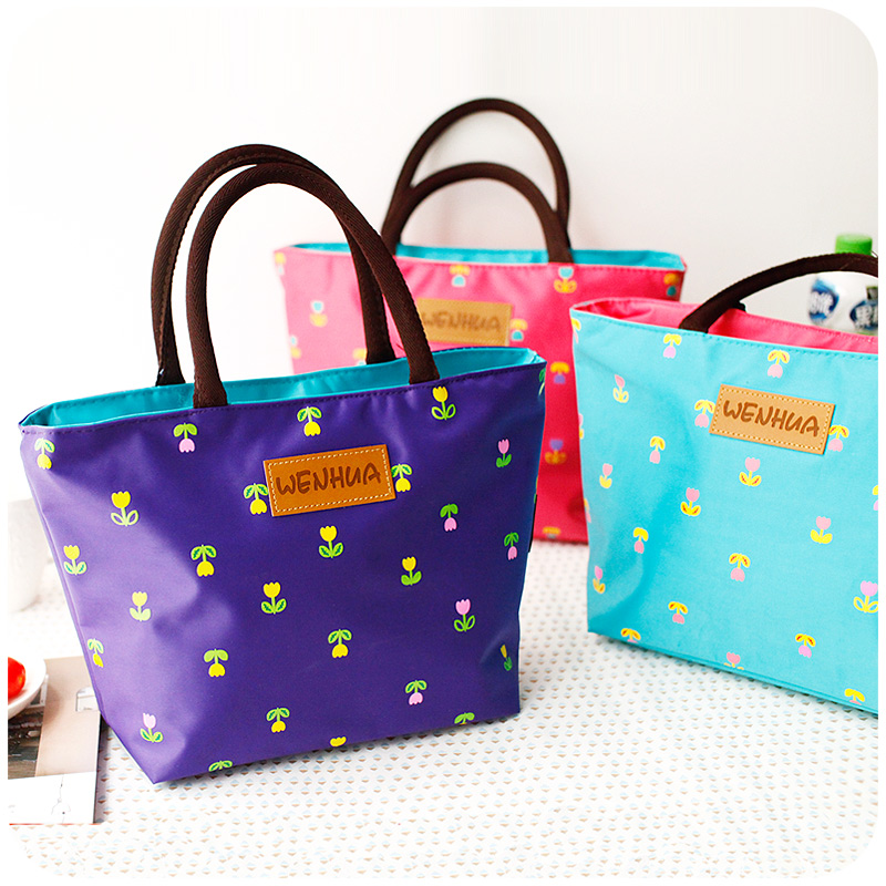 Thermal lunch bag waterproof portable box band boxes small Cute little flowers - Health and beauty forever store