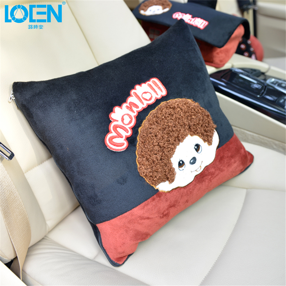 LOEN Car seat support 1PC Cute cartoon plush office chair car styling Multi-function Double use Lumbar Support folding quilt