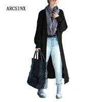 ARCSINX Oversized Vrouwen Lange Vesten Plus Size 4XL 5XL 2017 Herfst Black Grey Vrouwen Poncho Koreaanse Stijl Vrouwelijke Truien Jassen