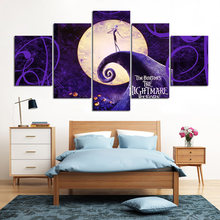 5 Pieces Canvas The Nightmare Before Christmas Modular Pictures panel painting Wall Art poster and prints NY-7605B