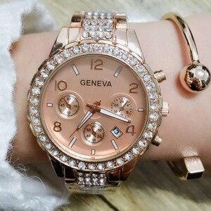 Image 5 - 女性の腕時計ステンレス鋼絶妙な女性のラインストーンの高級カジュアルクォーツ時計 Relojes Mujer 2020 新着 876