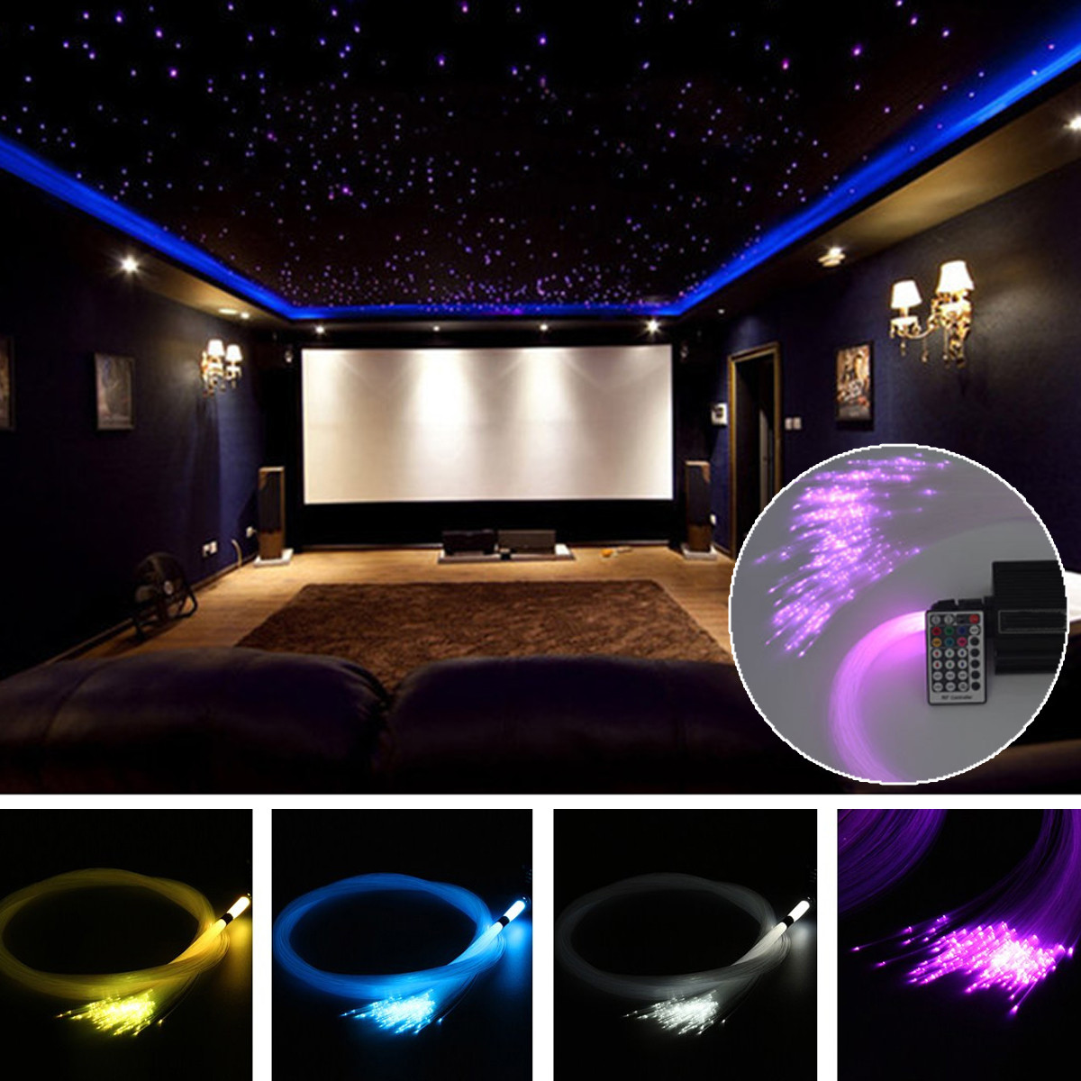 150Pcs 0.75mm X 2m RGB Fiber Optic Lights DIY  LED Strips Star Ceiling Light  Decoration Kit For Fiber Optic Light Machine