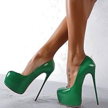 Sexy Green Patent Leather Sky High Platform Pumps Women Shoes Round Toe 16CM Ultra Stiletto Heels Banquet Dress Plus Size