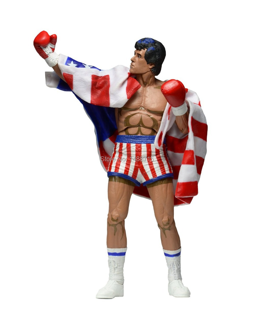 Hot Sale NECA Classic Movie Boxer Rocky Sylvester Stallone With US National Flag 18CM Action Figure Toys New Box sylvester