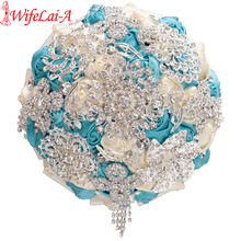 WifeLai A Crystal Get Marry Wedding Bouquet Diamond Bridal Brooch Bridesmaid Bouquet Artificial Flower Ivory Blue In Stock W230A