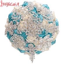 WifeLai-A Crystal Get Marry Wedding Bouquet Diamond Bridal Brooch Bridesmaid Bouquet Artificial Flower Ivory Blue In Stock W230A