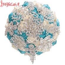 WifeLai EINE Kristall Erhalten Heiraten Hochzeit Bouquet Diamant Braut Brosche Brautjungfer Bouquet Künstliche Blume Elfenbein Blau Auf Lager W230A