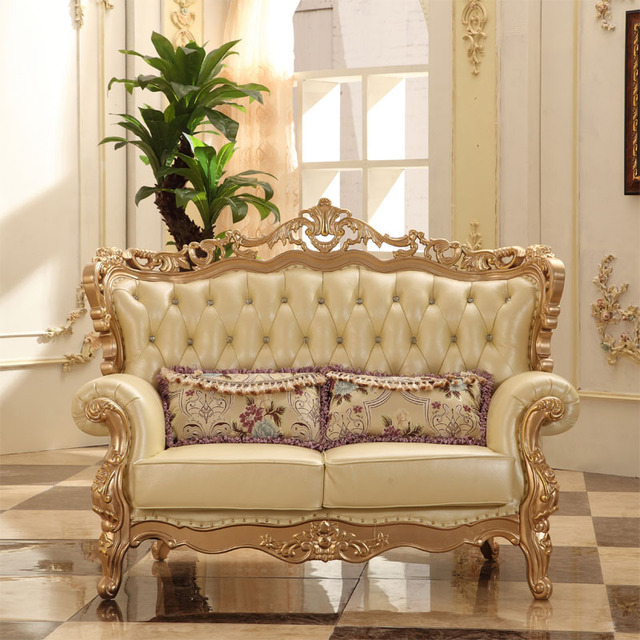 European Style Luxury Sectional Sofa Set Living Room Furniture From China  Champagne Gold 1+2
