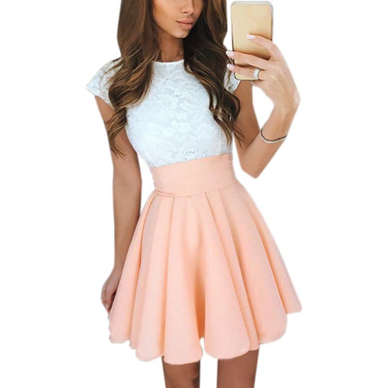 Lace Kawaii Dress Beach Summer Women Cute 2018 Flare Dresses Mini A Line Party Dress Mujer Robe Femme Plus Size GV651