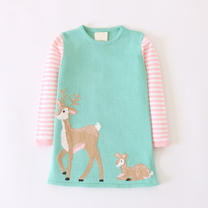Spring Autumn Baby Girls Knitted Dress Long Sleeve Kids Sweater Dress Cute Deer Baby Dress Casual Children's Clothing 2-7 years цена