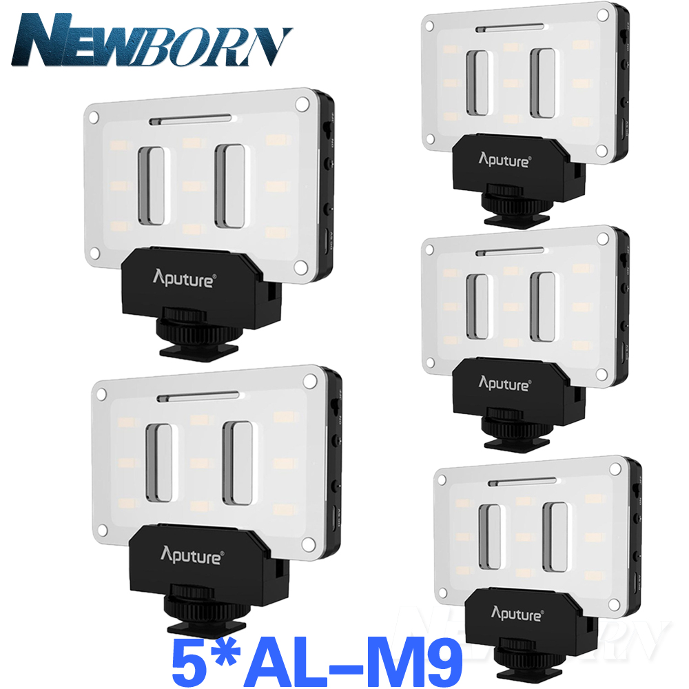 Aputure 5Pcs/set AL-M9 LED Video Light TLCI/CRI 95+ pockable on-camera fill light Pocket sized Tiny LED Light Accept bargaining mcoplus air 1000b led video light pockable cri 95 display bi color