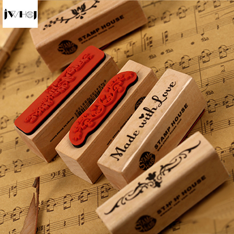 1 Pcs Vintage Strip Wooden Rubber Stamp Kids DIY Handmade Scrapbook Photo Album, Students Stamps Arts, Crafts Gift