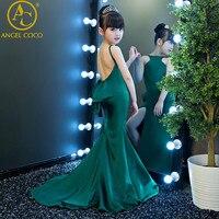 Moda yeşil halter kız çocuk modelleri podyum İnce Mermaid akşam elbise T sahne defile elbise Karnaval Kostüm Çocuklar Için