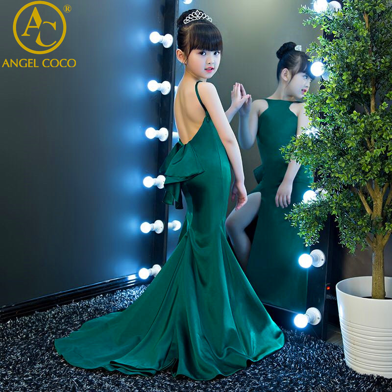 fashion green halter girl child models catwalk Slim Mermaid evening dress T stage fashion show clothes Carnival Costume For Kids gril flower dress multi storey white clothes stage girl performance children show clothes for dance with a pair of glove