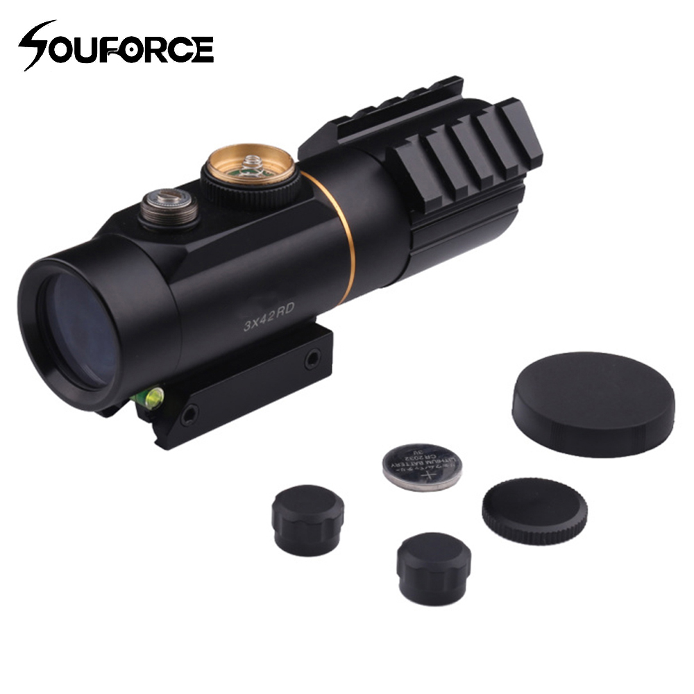 Riflescope 3x42 Red Dot Sight Scope With Spirit Bubble Level Fit Picatinny Rail Mount 11mm And 20mm Hunting Shooting