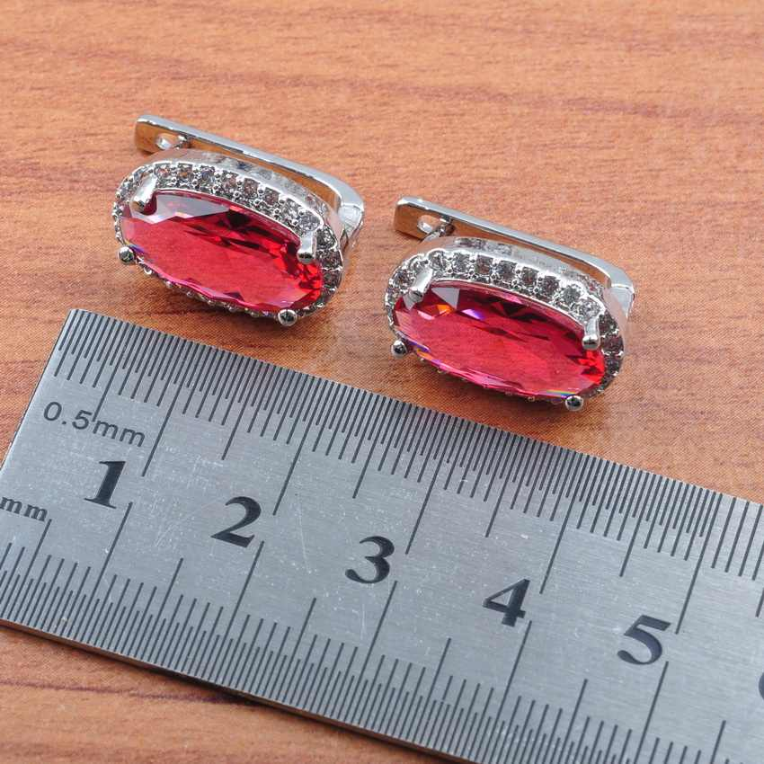 Mới Đến Hoa Hồng Đỏ Pha Lê Jewellry 925 Sterling Silver Bạc Đám Cưới Cô Dâu Đính Trang Phục của Phụ Nữ Bộ Đồ Trang Sức Món Quà Tốt Nhất Js0170