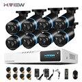 H. view 8ch sistema cctv 1080 p ahd dvr de salida 8 unids 2.0mp ir exterior cctv cámara de seguridad inicio sistema de vigilancia de vídeo kits