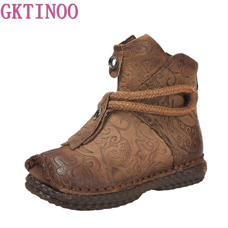 Ayakk.'ten Ayak Bileği Çizmeler'de GKTINOO Hakiki Deri Kış sıcak Çizmeler Kadınlar için El Yapımı yarım çizmeler Kürk Retro Çizmeler Kadın Düz Bayan Ayakkabıları'da  Grup 1
