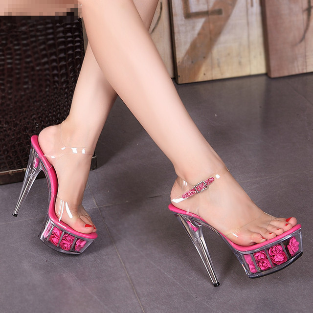 2015 Auto Show catwalk Sandals colorful Super high heel 15CM Dance shoes  Sexy black Nightclubs shoes wedding party high heels 79451853202e