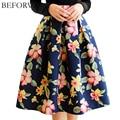 BEFORW Brand High Waist Pleated Midi Skirt 4 Color Women Floral Print Long Skirts Winter Skirts Faldas largas Saia feminina