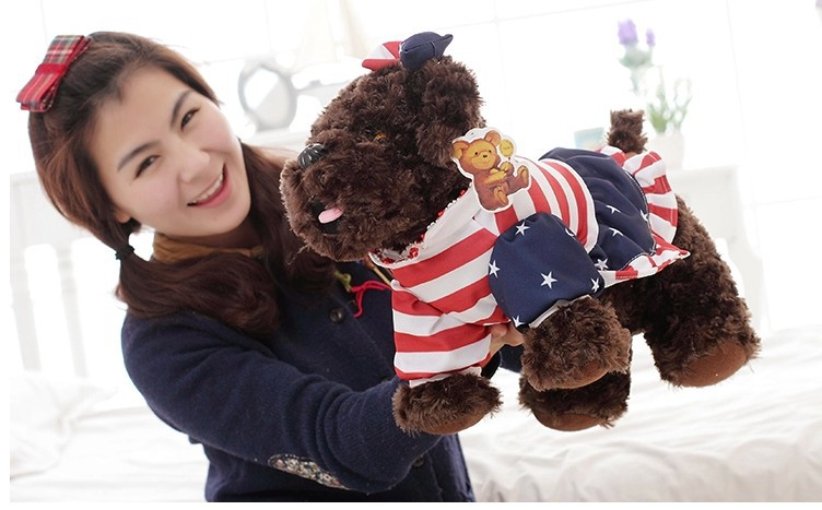 stuffed animal dark brown Teddy dog plush toy about 50 cm toy poodle dog  soft doll t7069 stuffed animal 120 cm cute love rabbit plush toy pink or purple floral love rabbit soft doll gift w2226