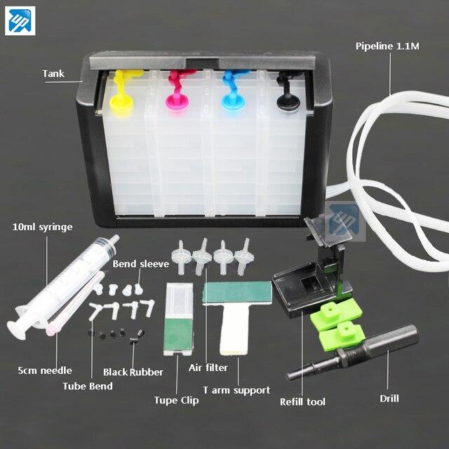 Luxe 4 couleurs CISS avec accessoires réservoir dencre pour HP 302 301 304 650 652 651 664 121 122 123 62 63 pour hp s 140 141 350 351