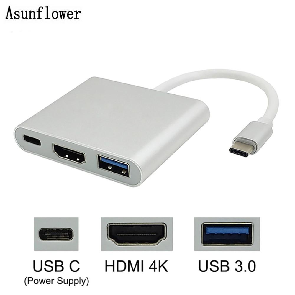3in1 Hub Type C USB3.1 to USB-C 4K 1080p HDMI USB3.0 Adapter Digital Camera HDTV