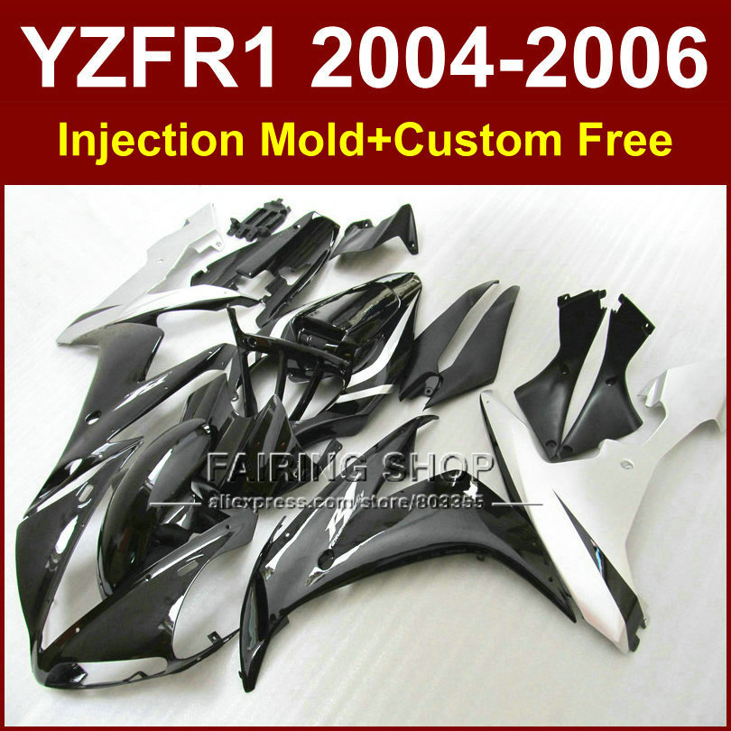 ABS Injection molding motor body fairings kit for YAMAHA 04 05 06 YZFR1 YZF 1000 YZF R1 2004 2005 2006 black silver fairing kits high quality abs fairing kit for yamaha r1 2002 2003 red flames in black fairings set injection molding yzf r1 02 03 yz32