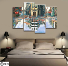 Hot Sales Without Frame 4 Panels Picture Water Mirror Town Print Painting Artwork Wall Art Canvas Wholesale