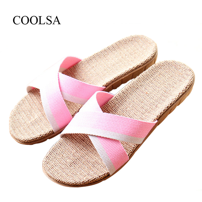 COOLSA Women's Summer Cross-tied Linen Slippers Canvas Mixed Colors Hemp Flax Slippers Home Slippers Beach Flip Flops for Women coolsa women s summer striped linen slippers breathable indoor non slip flax slippers women s slippers beach flip flops slides