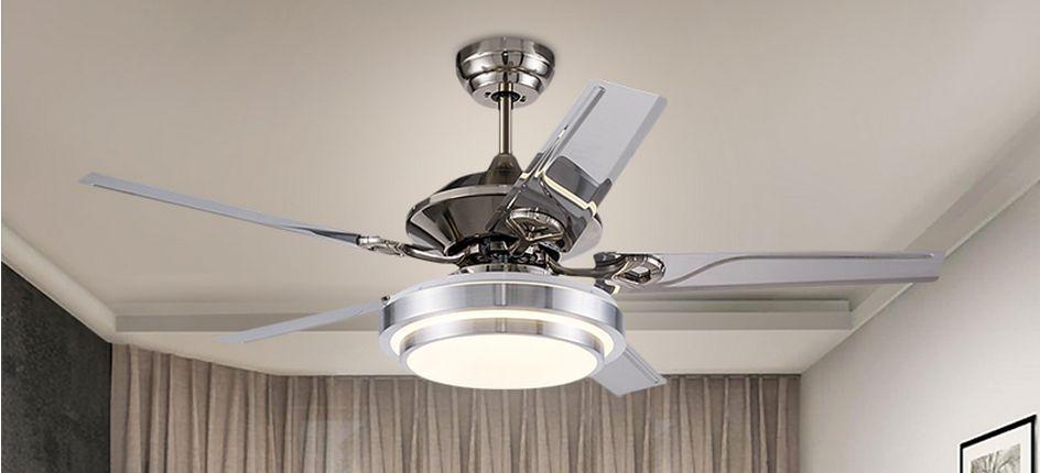 """Lámpara de luz de ventilador de techo sala de luz de techo restaurante LED Lámpara de ventilador de acero inoxidable minimalista moderna europea 52 """"48"""" 42 """""""