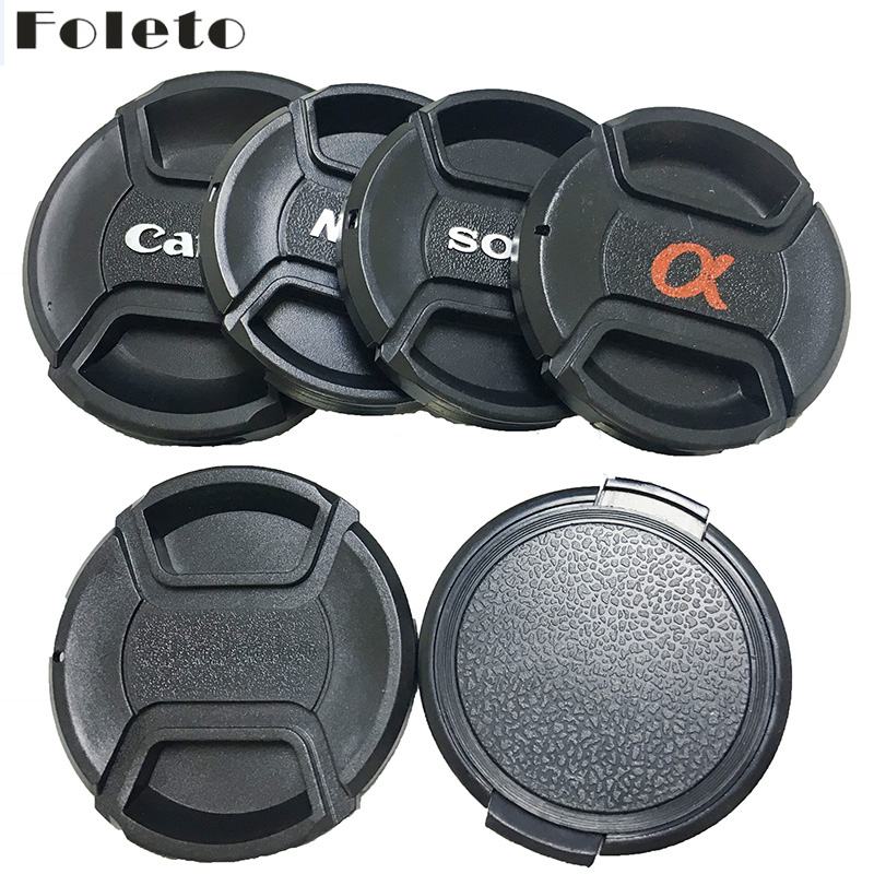 Foleto Lens Cap Cover Snap On Center Pinch Lens Protective 49 52 55 58 62 67 72 77 82mm for Canon Nikon Sony a Pentax logo 500d