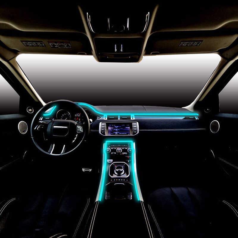 6 м звук активный RGB светодиодный свет салона автомобиля Многоцветный EL неоновая подсветка для салона автомобиля Bluetooth телефон приложение управление атмосферный свет 12 В