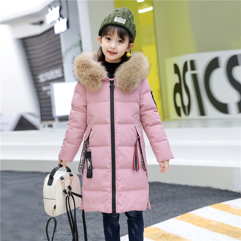 XYF8882 Boys Girls Winter Down Jackets Kids Big Fur Collar Thicken Winter Jacket Warm Outerwear Long Coat 85% White Duck Down tectop winter 90% duck down jacket women long coat parkas thicken female warm clothes fur collar outdoor hiking camping cloth