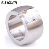SHUANGR Fashion Men S Ring The Punk Rock Accessories Stainless Steel Crystal Rings For Men Women