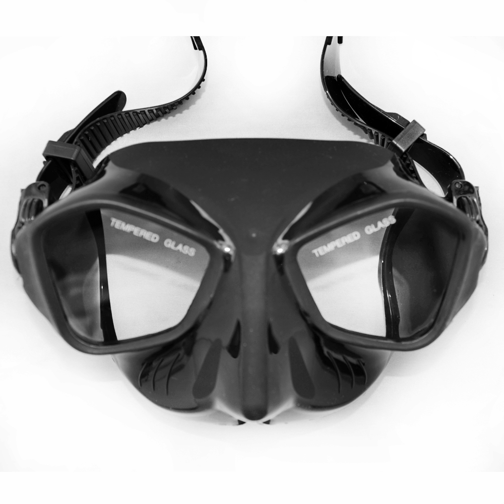 Extreme Low Volume Spearfishing Diving Mask Black Silicone Skirt Strap Tempered Lens Freediving Mask Adult Spearfishing Gears