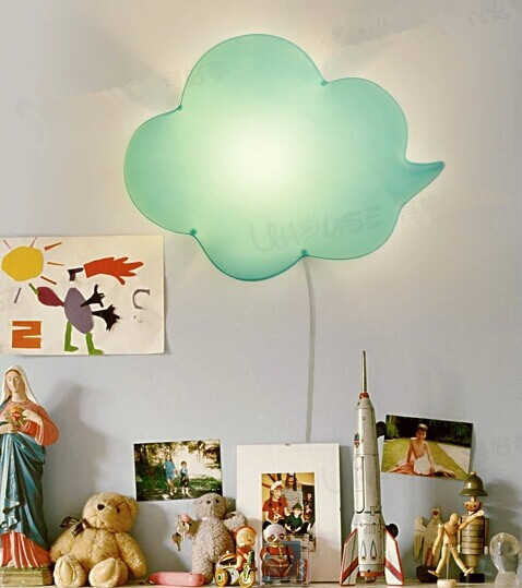 Light Green Cloud lovely creative Acrylic LED wall lamp for kids bedroom  baby room night lamp bedside lamp,E14*1 bulb included yimia creative 4 colors remote control led night lights hourglass night light wall lamp chandelier lights children baby s gifts