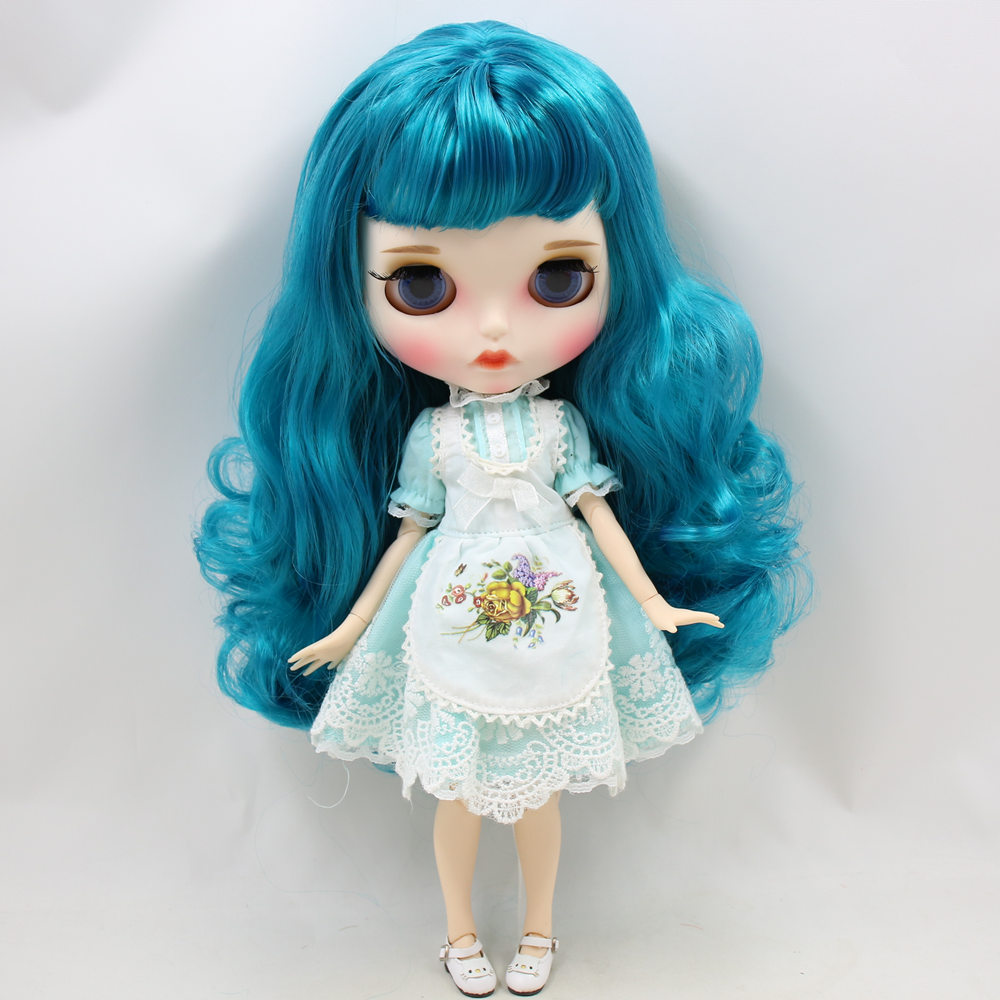 ICY Nude Blyth Doll No BL4302 Turquoise hair Carved lips Matte customized face Joint body 1