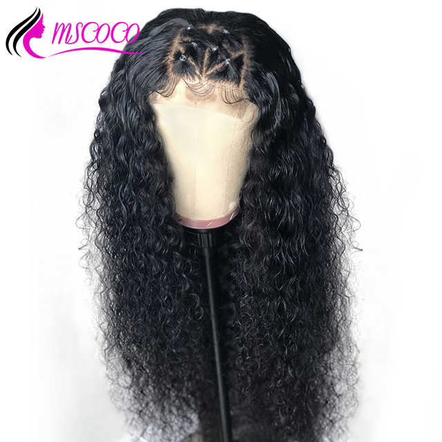 Mscoco Kinky Curly Human Hair Wig Full Lace Wig Pre Plucked 200 Density Remy Brazilian Full Lace Human Hair With Baby Hair