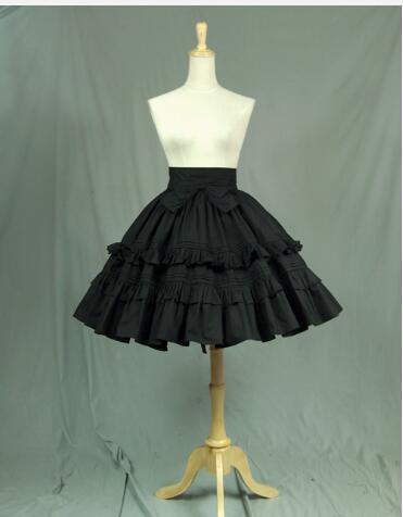Encaje Lolita Volantes Vintage Marca Negro Falda Jardín En Capas Con De Corta BpBqw7Z