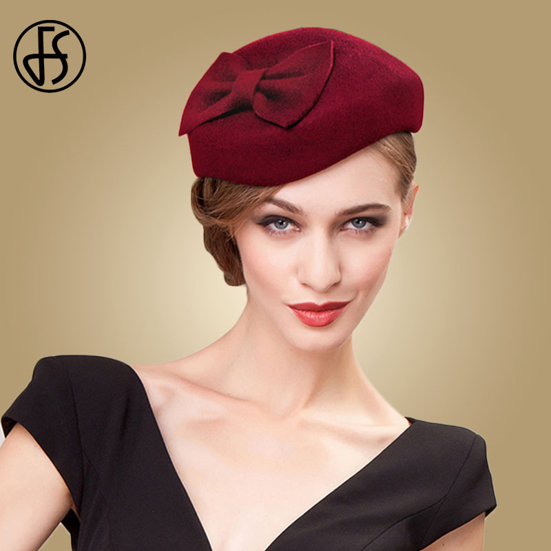 Image 2 - FS Black Fascinator 100% Wool Pillbox Hats For Women Fedora Elegant Ladies Felt Bowknot Wedding  Derby Tea Party Church Hat-in Women's Fedoras from Apparel Accessories